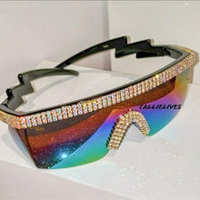 Load image into Gallery viewer, Miz Future: Rainbow Visor Lens Bling Rhinestone Sunglasses, Accessories, CallieLives