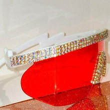 Load image into Gallery viewer, Miz Future: Red Visor Lens Bling Rhinestone Sunglasses, Accessories, CallieLives