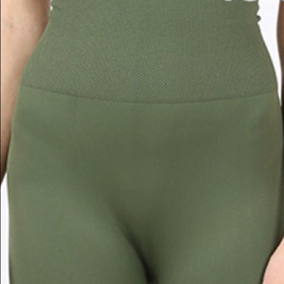 Miz TUMMY-CONTROL: Green HIGH WAIST Nylon LEGGINGS