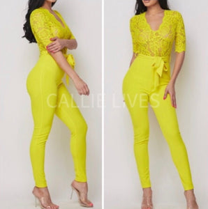 Callie Chartreuse Lace Onesie Belted Pant Jumpsuit