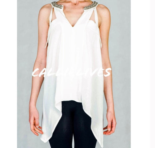 Callie Loose: Long Flowy Top Pure Bling Neckline