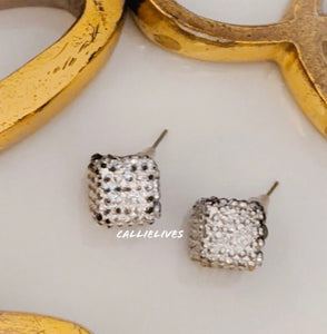 Callie Silver Bling Square Sparkling Stud Earrings