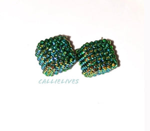 Callie Spruce Green Bling Square Sparkling Stud Earrings, Jewelry, CallieLives