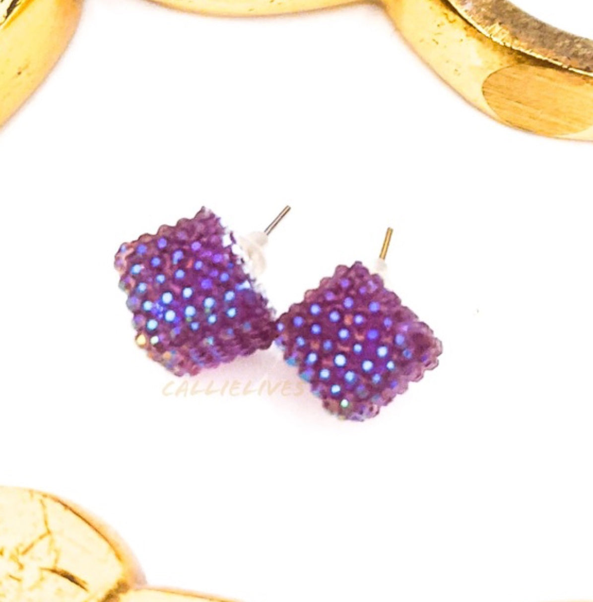 Callie Lilac Purple Bling Sparkling Stud Earrings, Jewelry, CallieLives