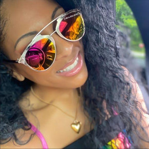 Stasia Pink Mirror Gold Frame Orange Sunglasses
