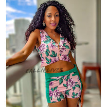 Load image into Gallery viewer, Callie Satin: Floral Print Pink Green Short Set, Sets, CallieLives