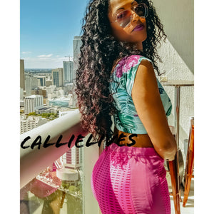 Callie Laser Cut Hot Pink Stretch Shorts - callielives