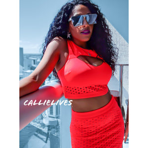 Callie Coral: Neon Orange Cropped Scuba Skirt Set - callielives