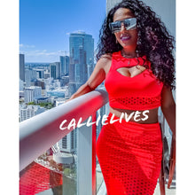 Load image into Gallery viewer, Callie Coral: Neon Orange Cropped Scuba Skirt Set - callielives