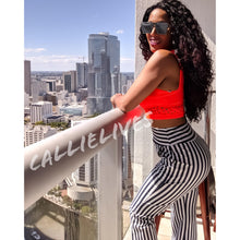 Load image into Gallery viewer, Callie La Flare Striped Illusion Pallazo Pants M - callielives