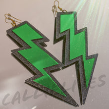 Load image into Gallery viewer, Green Lightning Bolt Dangling 80s Acrylic Earrings - callielives