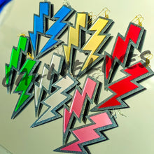 Load image into Gallery viewer, Large Acrylic Silver Mirrored Lightening Bolt Earrings, Jewelry, CallieLives