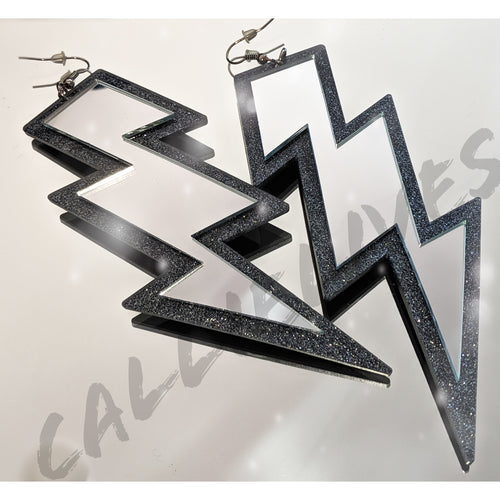 Large Acrylic Silver Mirrored Lightening Bolt Earrings - callielives