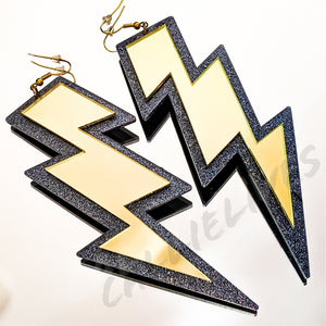 Large Acrylic Gold Mirror Lightening Bolt Earrings - callielives