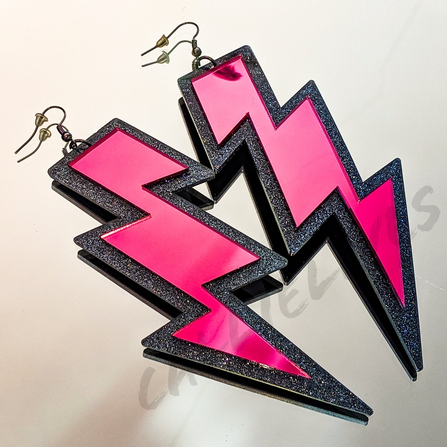 Large Acrylic Pink Mirror Lightening Bolt Earrings - callielives