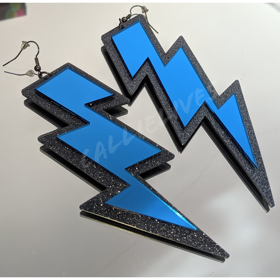 Large Acrylic Blue Mirror Lightening Bolt Earrings