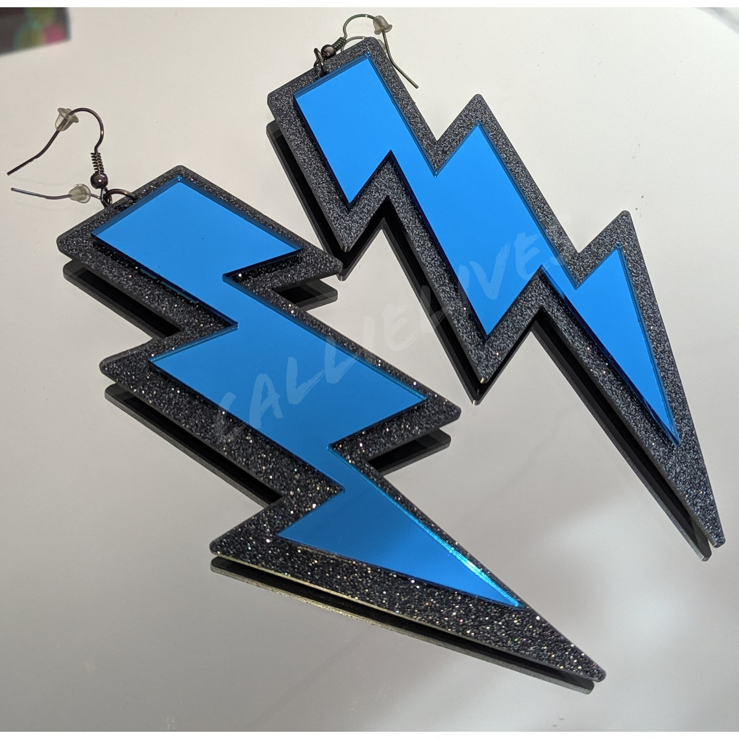 Large Acrylic Blue Mirror Lightening Bolt Earrings - callielives