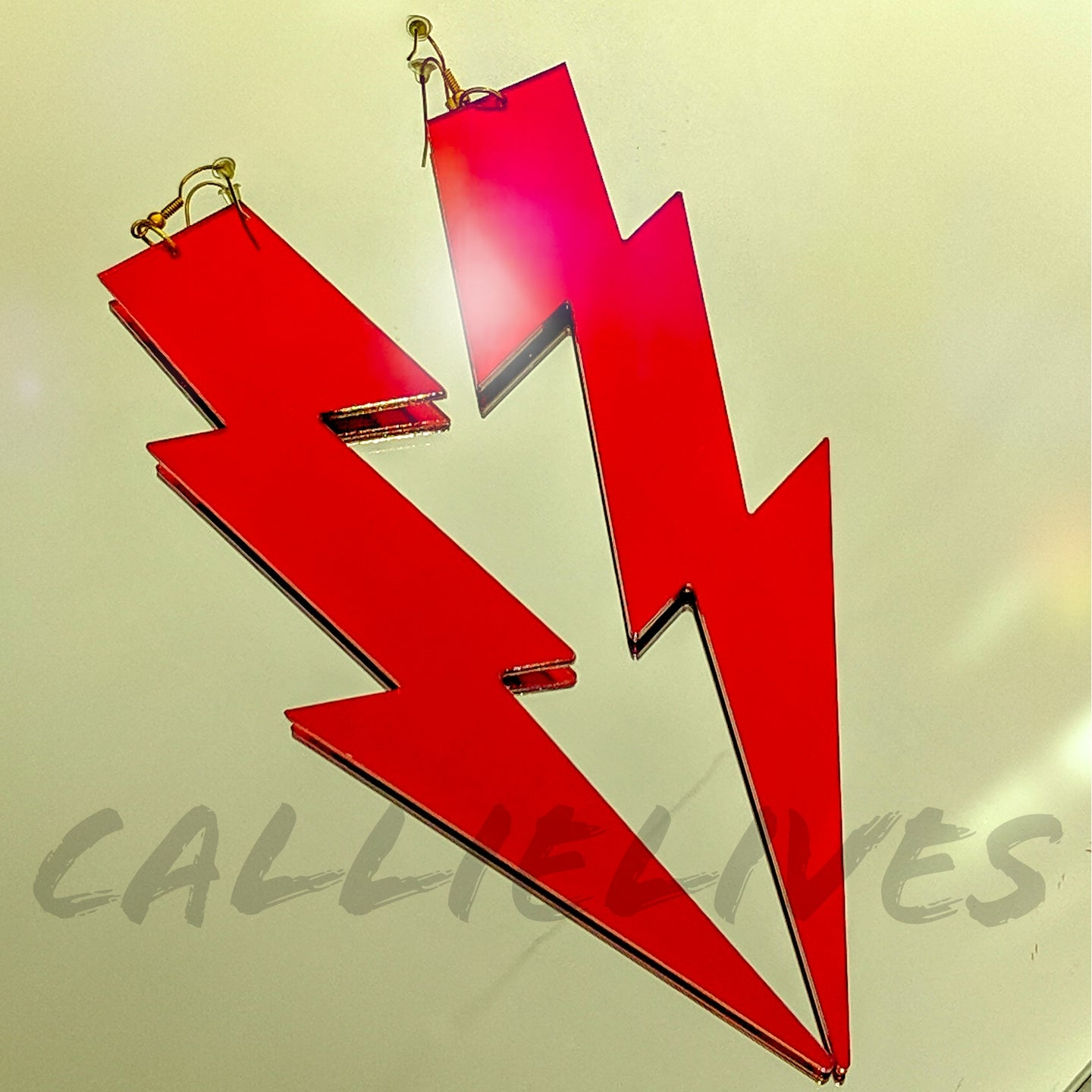 XL Red Acrylic Mirror Lightening Bolt Earrings - callielives