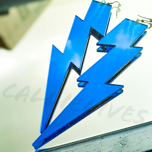 XL Blue Acrylic Mirrored Lightening Bolt Earrings - callielives