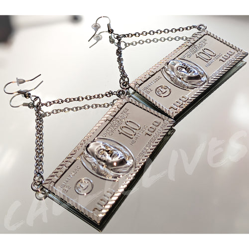 Silver Hundred Dollar Bill Plate Dangling Earring - callielives