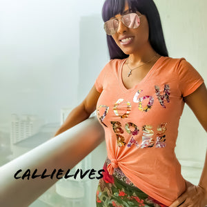 Callie Posh Boss Babe: Vneck TShirt Orange Floral - callielives