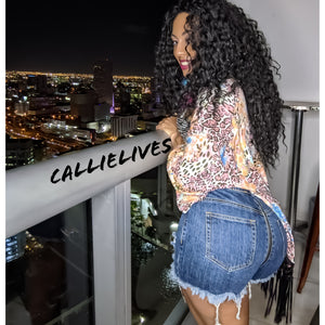 Callie Zip My Rear: Distressed Frayed Jean Shorts (PLUS)