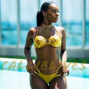 Xena Queen: Gold Strappy Demi Thong Bikini - callielives
