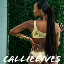 Load image into Gallery viewer, Xena Goldine: Foil Tiny Crop Top Gold Bikini L XL - callielives