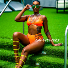 Load image into Gallery viewer, Stasia Neon: Orange Laced Up High Waist 2PC Bikini - callielives
