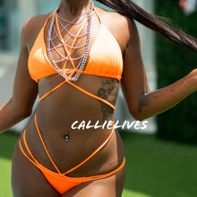 Load image into Gallery viewer, Stasia Orange: Braided Strappy Triangle 2PC Bikini - callielives