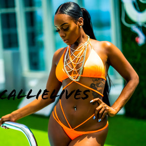 Stasia Orange: Braided Strappy Triangle 2PC Bikini - callielives