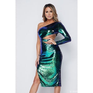 Callie New Year Sequin Green Blue Ombre Midi Dress, Dresses, CallieLives