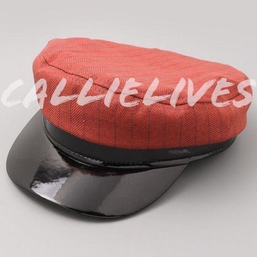 Callie Capitan: Pinstripe Patent Leather Brim Hat, Accessories, CallieLives