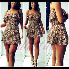 Load image into Gallery viewer, Stasia Dancing Cheetah:  Salsa Off Shoulder Mini Skater Dress - callielives
