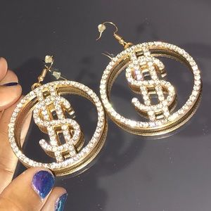 Dollar Sign Bling Rhinestone Earrings