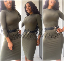 Load image into Gallery viewer, Mock Midi Dress Army Green or Black - callielives