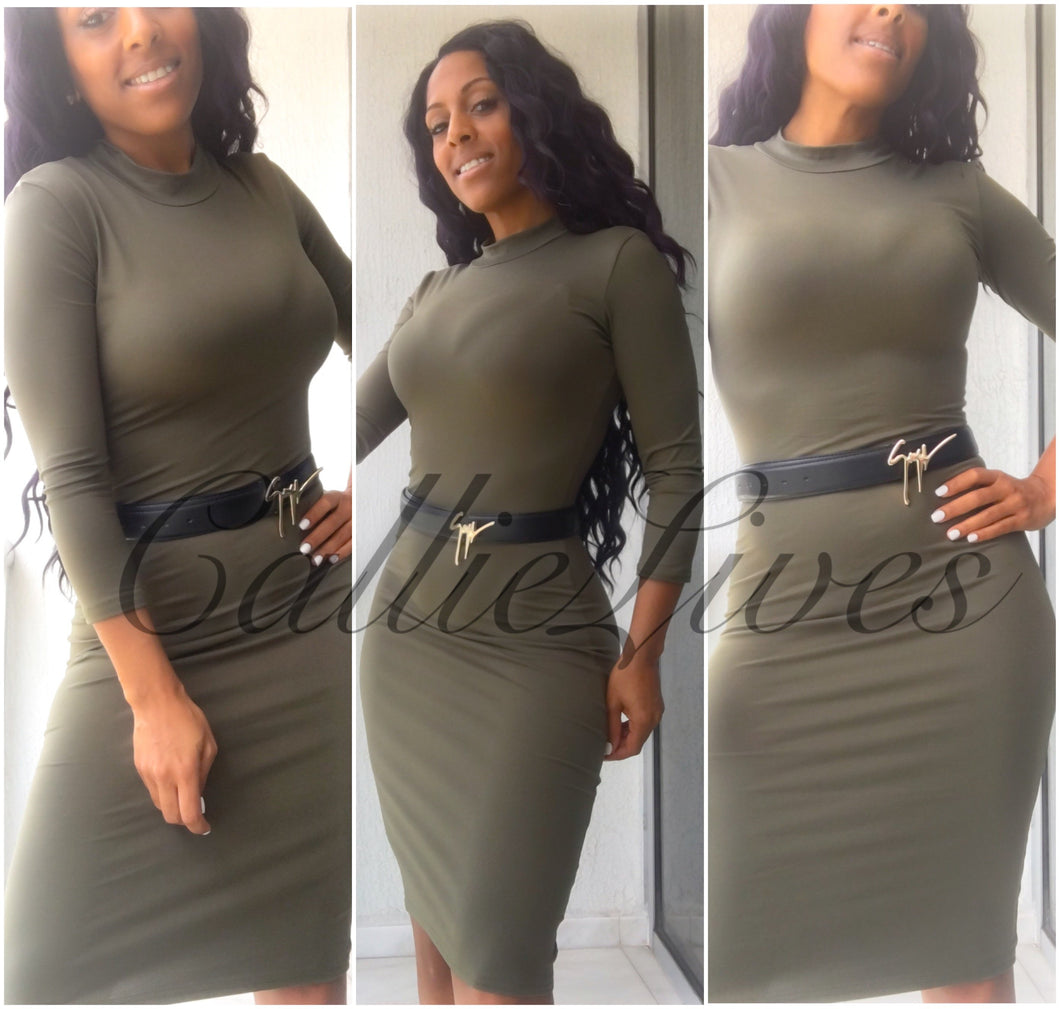 Mock Midi Dress Army Green or Black