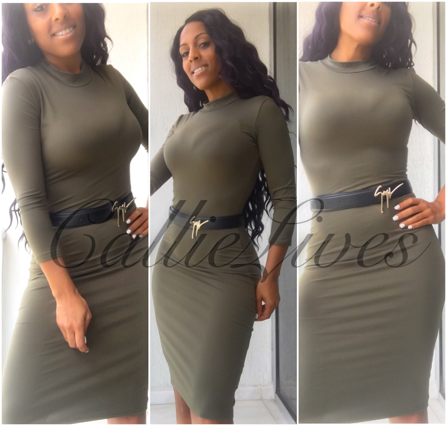 Mock Midi Dress Army Green or Black - callielives