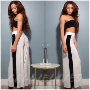 Stasia High Contrast: Striped Wide Leg Palazzo Pants - callielives