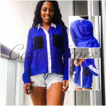 Load image into Gallery viewer, Hi-Low Buttonless Royal Blue Color Block Blouse