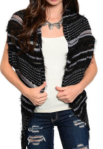 Raw Knit Asymmetrical Vest