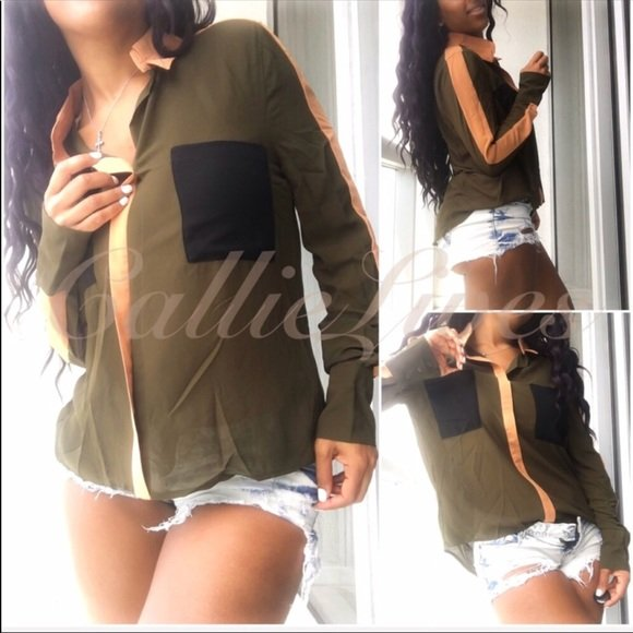 Elaine Go Hi-Low: Buttonless Sheer Olive Army Green Color Block Blouse - callielives