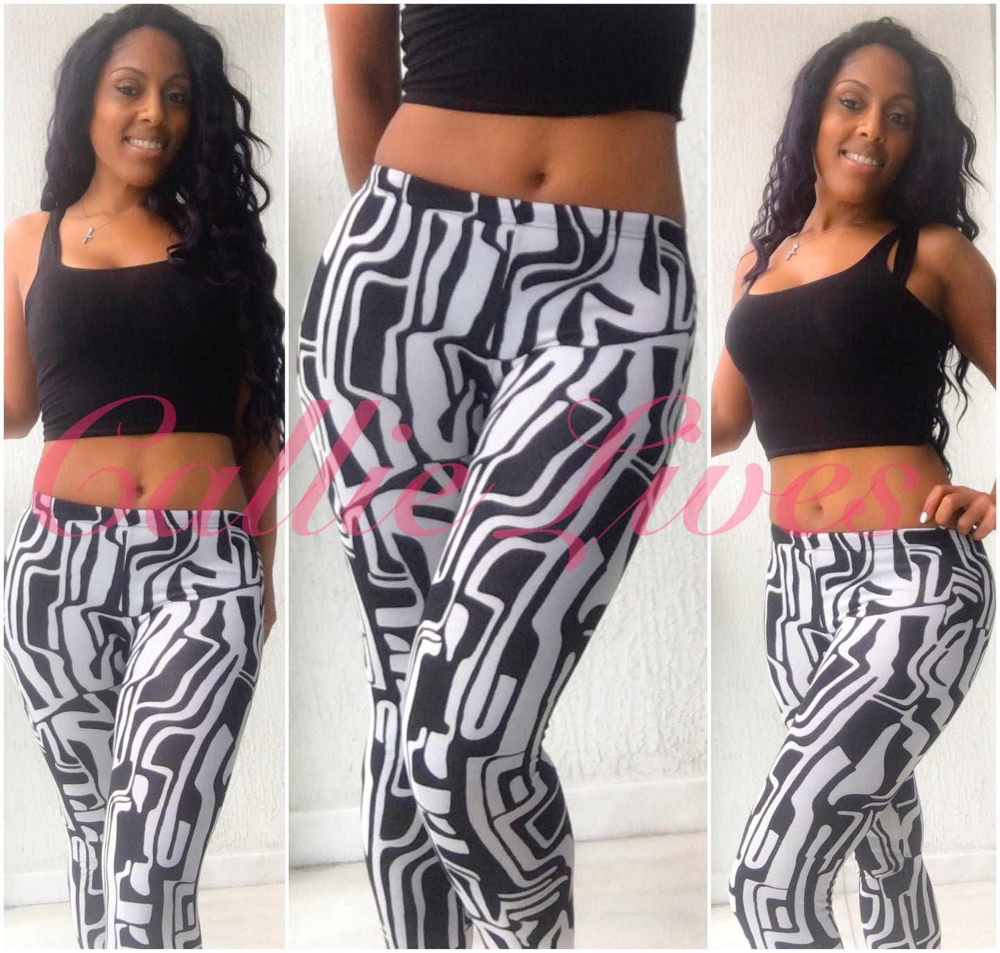 Stasia AMaze Me: Black & White Maze Sublimation Leggings - callielives