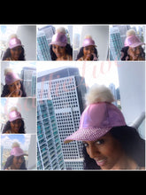 Load image into Gallery viewer, Pink or Black Studded Stone Pom Pom Hats