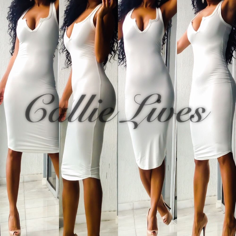 V-Neck Midi Dress Black or Ivory - callielives
