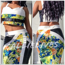 Load image into Gallery viewer, Floral Mixed Black Vinyl Skirt Set
