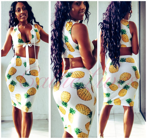 Pineapples: Keyhole Crop Top Midi Skirt Set - callielives