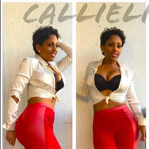 Callie Red Scuba: Skinny Pants Vegan Leather - callielives