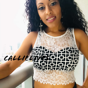 Callie Mix: Geometric Lace Bralette style Crop top - callielives