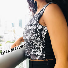 Load image into Gallery viewer, Callie Sequin: Salt and Pepper Short and Hot Crop Top - callielives